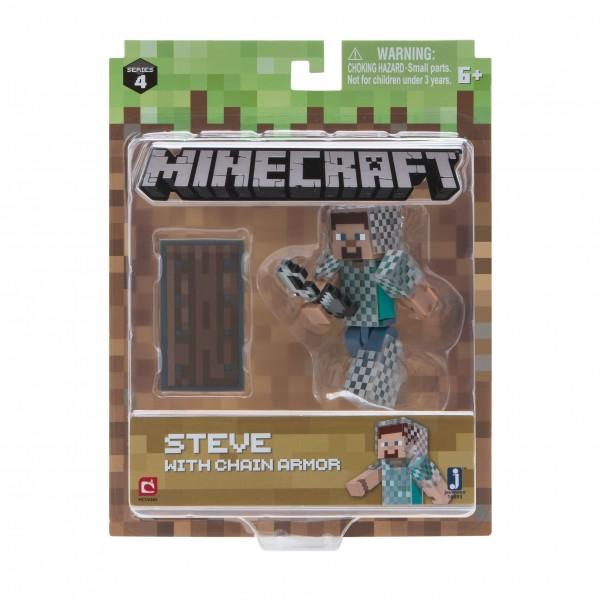 Minecraft Figur Spielset Steve mit Kettenrüstung & Accessoire Jazwares 16493