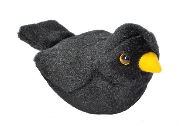 Amsel / europ. Blackbird mit naturgetreuem Ton ca 16cm Plüsch Wild Republic 19489
