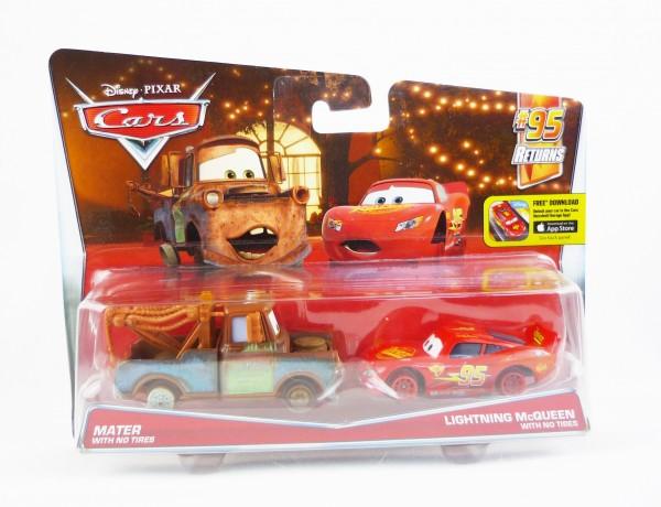 Disney Cars Die Cast 2er-Set Mater & Lightning McQueen with No Tires DHL20
