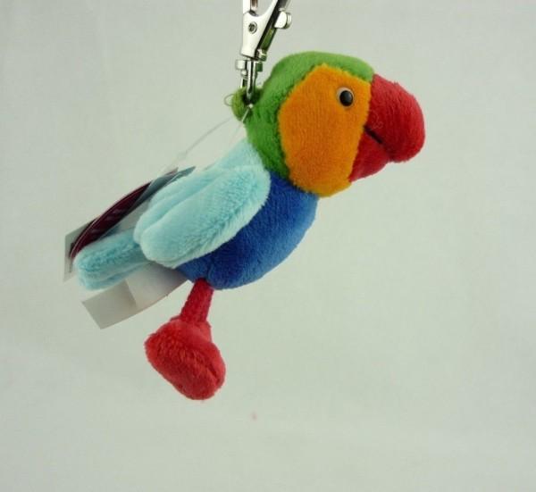 Schaffer 0140 Schlüsselanhänger Plüsch Papagei Calypso (grün) ca 10cm
