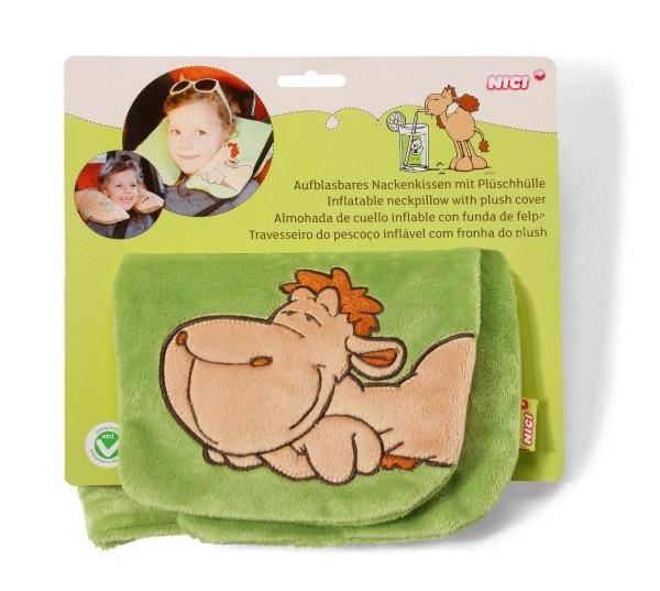 Nici 52056 aufblasbares Nackenkissen mit Plüschhülle Kamel grün