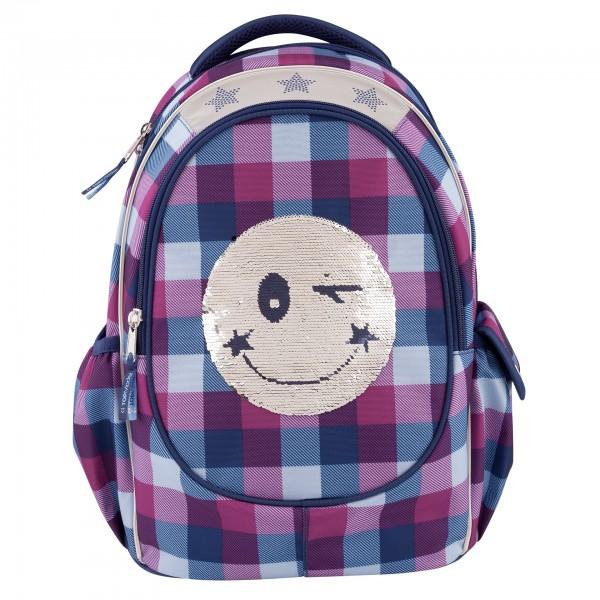 Depesche 10208 TOPModel Schulrucksack Streich-Pailletten Smiley blau/lila