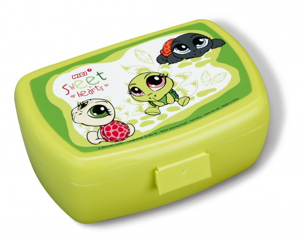 Nici 40322 Brotdose Lunchbox Schildkröten grün Sweet Hearts 17x12x6,8cm