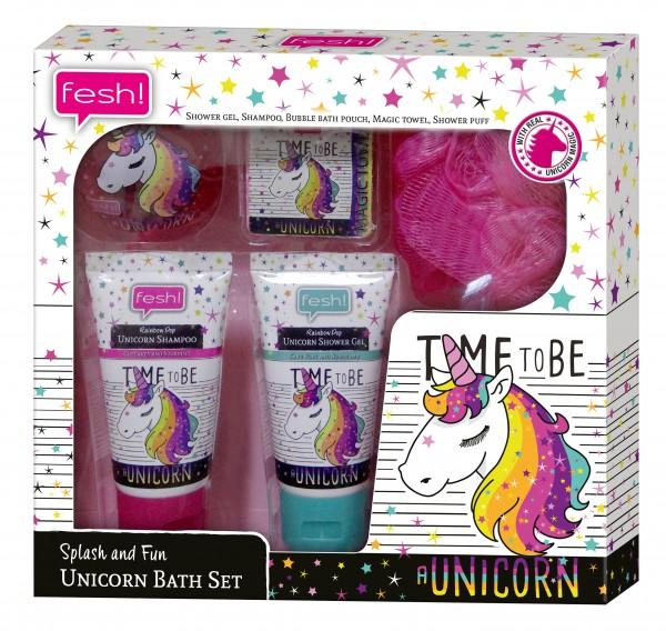 fesh! Splash and Fun Einhorn Badeset Unicorn Bath Set Geschenkset vegan