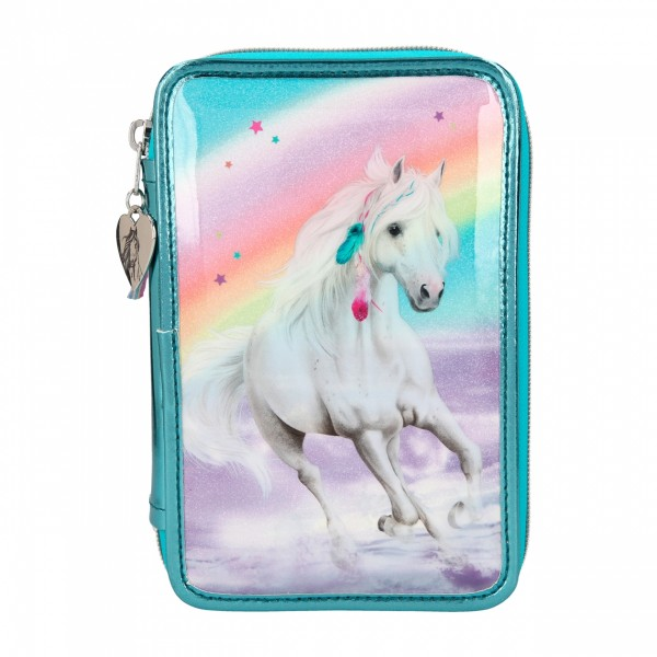 Depesche 11055 weißes Pferd Miss Melody 3-Fach Federtasche RAINBOW Regenbogen