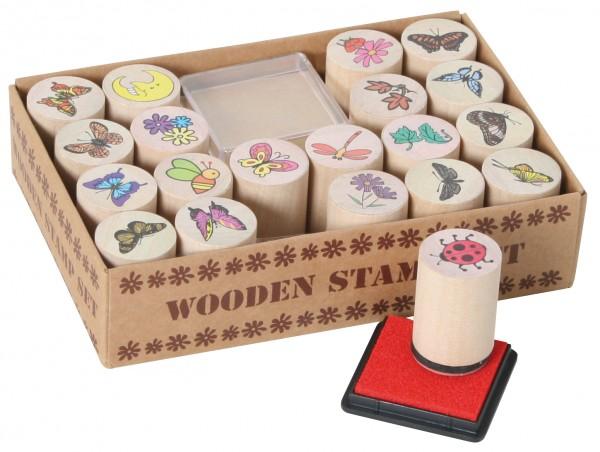 Natur-Stempel-Set Kreativset 20 Stempel + Kissen Wooden Stamp Set 102016