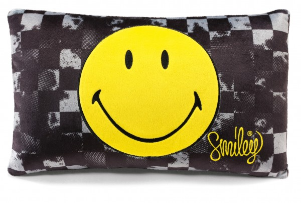 Nici 39296 Kissen Smiley Happy Collection gelb / grau bedruckt 43x25cm