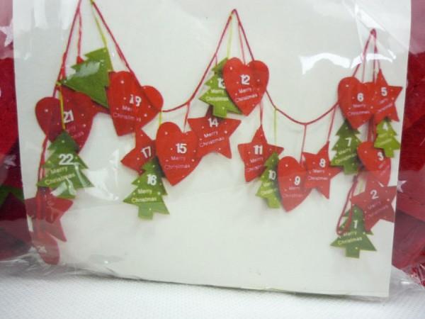 Filz Adventskalender 260cm Girlande Sterne - Baum - Herz zum Befüllen