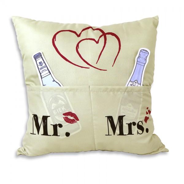 Hergo Sofahelden Kissen mit Taschen 43x43cm - Mr. & Mrs. 8805