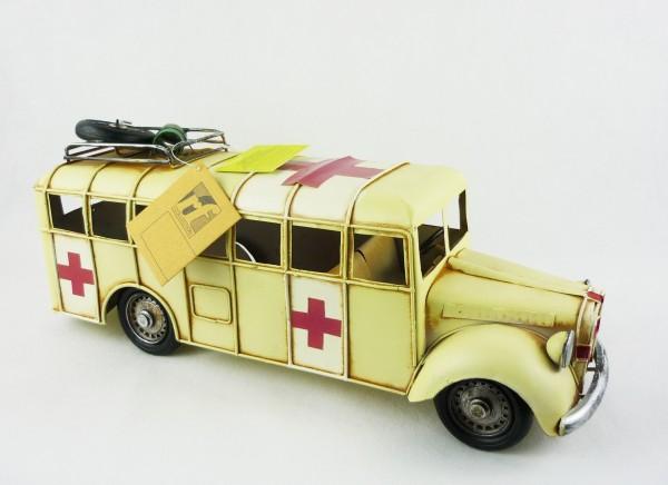 Blechmodell Rettungswagen Nostalgie ca 35,5x12x15cm 905304 Krankenwagen
