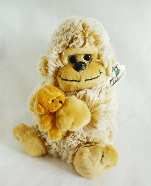 Gorilla mit Baby Plüsch Kuscheltier ca. 25cm hellbraun