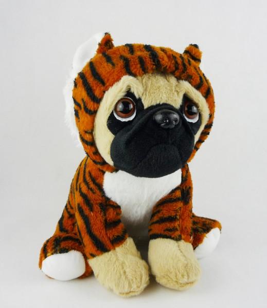 sitzender Hund Mops Plüsch im Anzug Kuscheltier ca 25cm - Tiger