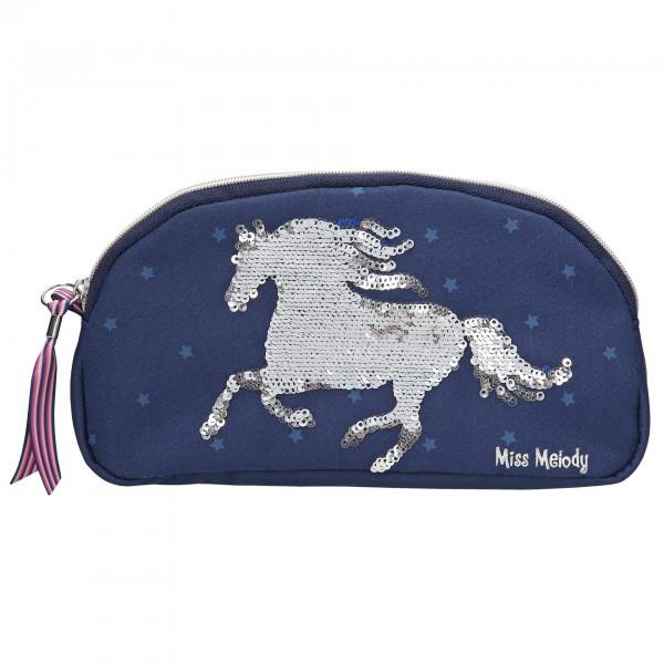 Depesche 10276 Pferd Miss Melody Kosmetiktasche Blau mit Streichpailletten