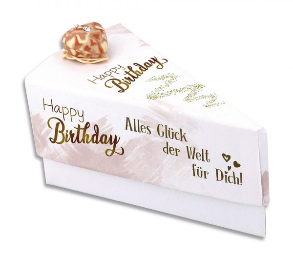 Geschenkschachtel Tortenstück - Happy Birthday / Alles Glück der Welt für Dich 9563