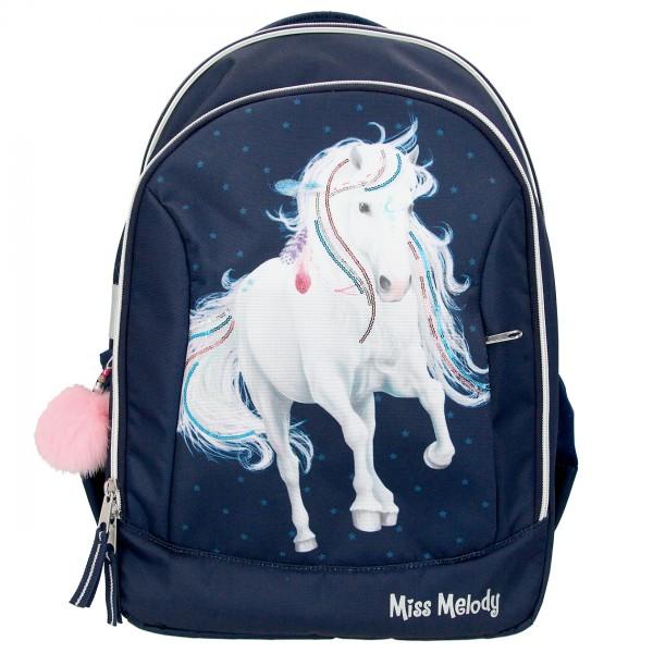 Depesche 10590 weißes Pferd Miss Melody Schulrucksack blau