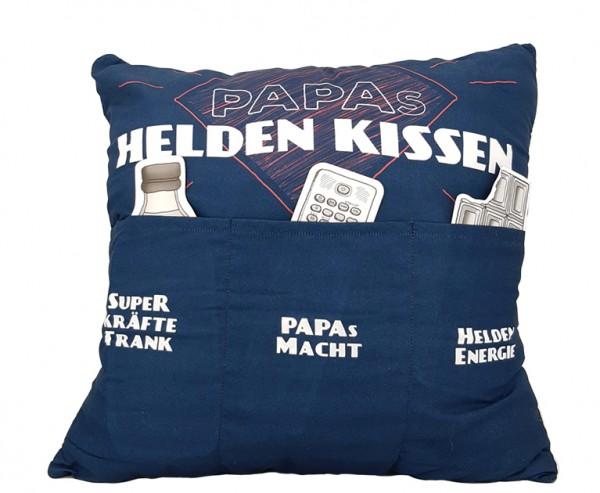 Hergo Sofahelden Kissen mit Taschen 43x43cm - Papas Heldenkissen 8843