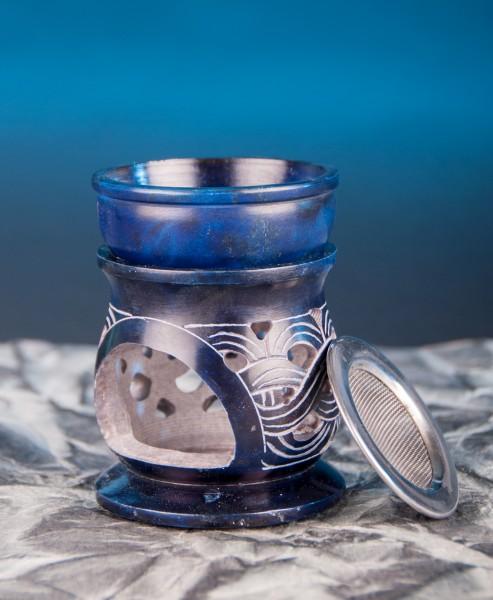 Berk ST-174 Aromalampe Keltischer Knoten mit Sieb Speckstein blau 10cm hoch