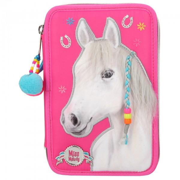 Depesche 10531 Pferd Miss Melody 3-Fach Federtasche pink kämmbare Mähne