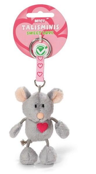 """Nici 37388 Schlüsselanhänger Talisminis Maus mit Herz """"Sweet Love"""" Plüsch ca 7cm"""
