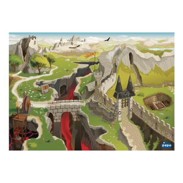Papo 60502 Spiel-Teppich Mittelalter mit Schluchten, Mauern und Bergen