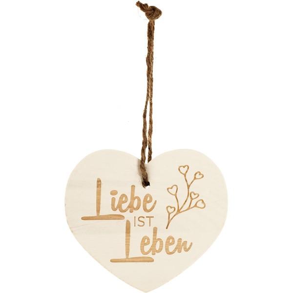 """Kleines Vintage-Herz aus Holz """"Liebe ist Leben"""" 24009"""