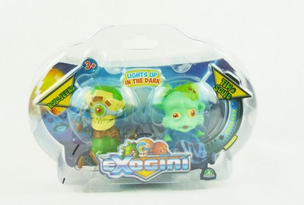 Exogini 2er Set Sammelfiguren Glow in the Dark - Robojeeno & Tim&Squid