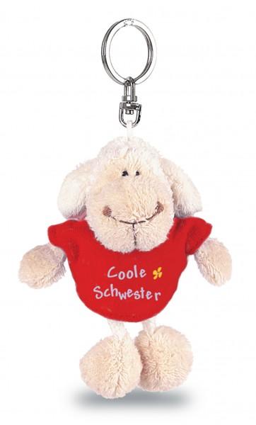 "Nici 31554 Schlüsselanhänger Schaf weiß T-Shirt rot ""Coole Schwester"" ca 10cm"