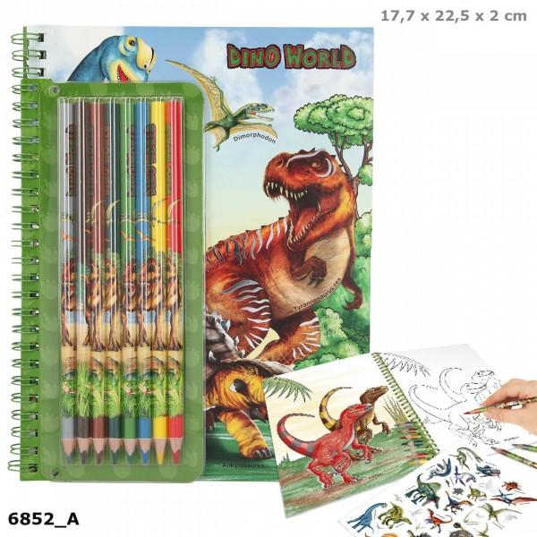 Depesche 6852 Dino World Malbuch mit Buntstiften Dinosaurier Kreativset