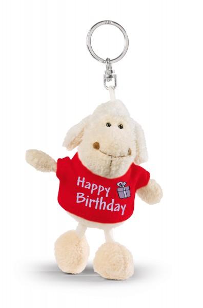 """Nici 32322 Schlüsselanhänger Schaf weiß T-Shirt rot """"Happy Birthday"""" ca 10cm"""