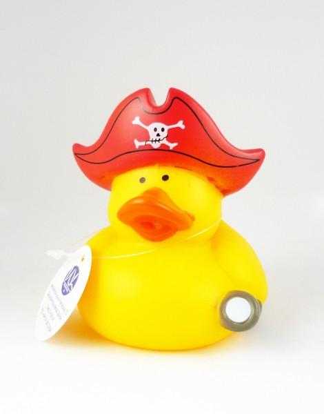 Gummiente Badeente mit Quietsche - Pirat mit rotem Hut