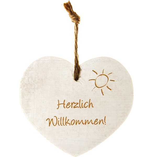 """Vintage-Herz aus Holz """"Herzlich Willkommen"""" 21018"""