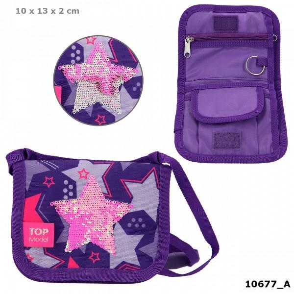 Depesche 10677 TOPModel Brustbeutel Streichpailletten Sterne lila
