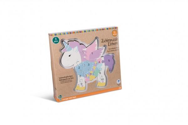 Nici 46015 Zahlenpuzzle Einhorn Holzspielzeug Orange Tree Toys