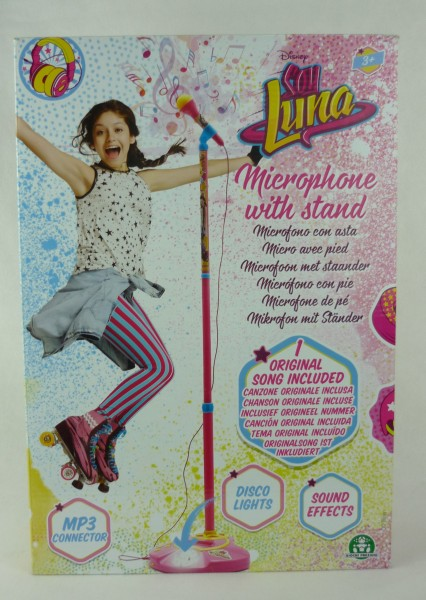 Soy Luna Mikrofon mit Ständer inklusive 1 Song MP3 Connector, Disco Licht