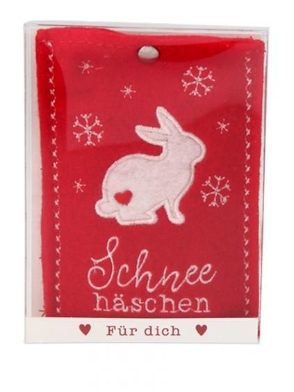 Depesche 10778 Handwärmer in Fleecehülle - Motiv Schneehäschen rot