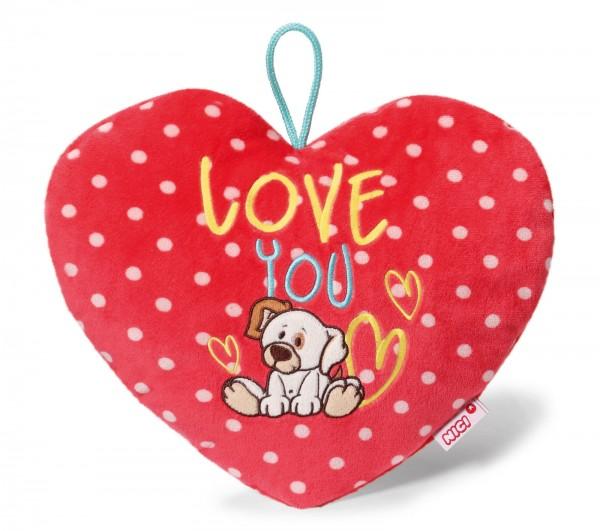 Nici 40199 Herz-Wärmflasche I Love You Hund mit Schlaufe Plüsch 350ml