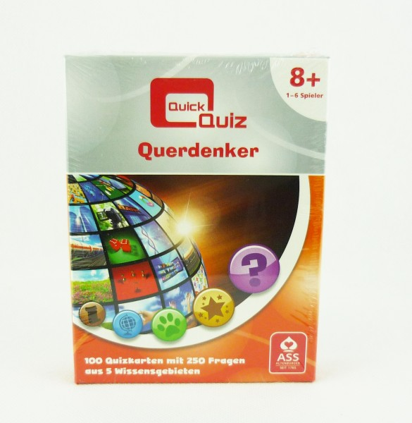 Quick Quiz Querdenker Kartenspiel 1-6 Spieler 250 Fragen auf 100 Karten