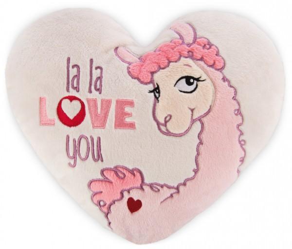 Nici 42706 Kissen La-La-Lama-Love herzförmig ca 25x22cm Plüsch
