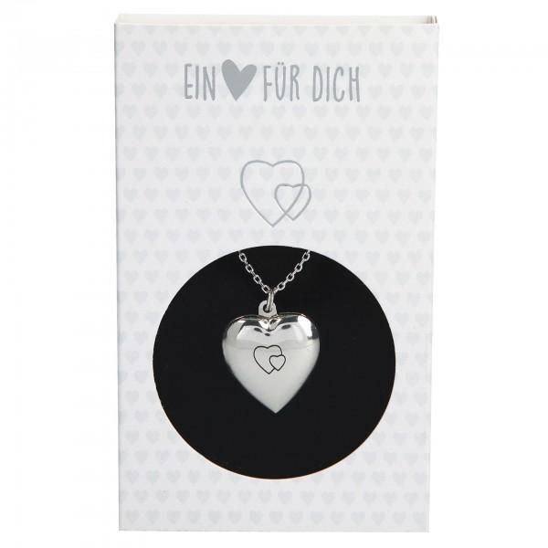 Depesche 10801 Halskette mit aufklappbarem Herzanhänger versilbert - zur Auswahl