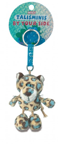 Nici 39522 Schlüsselanhänger Leopard blau gefleckt 7cm Talisminis Plüsch