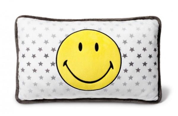 Nici 40725 Kissen Smiley gelb mit Sternen rechteckig 43x25cm Plüsch