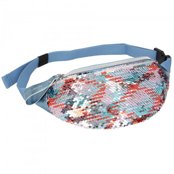 Depesche 10830 Bauchtasche Crossbag Streichpailletten multicolour blau-silber