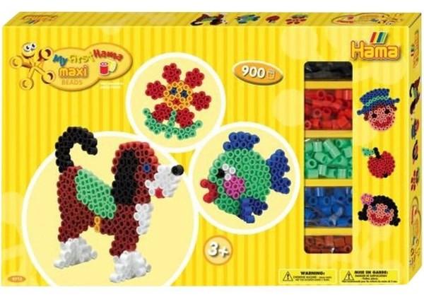 HAMA Maxi Perlen Beads Geschenkpackung Tiere mit 900 Perlen My first Hama