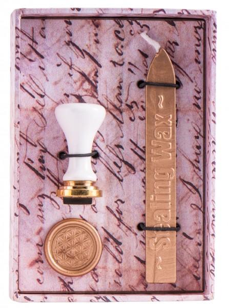 Berk Blume des Lebens Siegel-Set Stempel & goldenes Siegelwachs KH-558