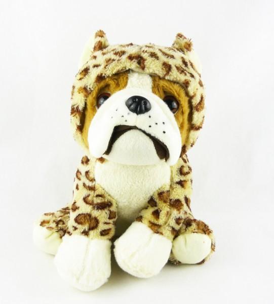 sitzender Hund Bulldogge braun Plüsch im Anzug Kuscheltier ca 25cm - Leopard