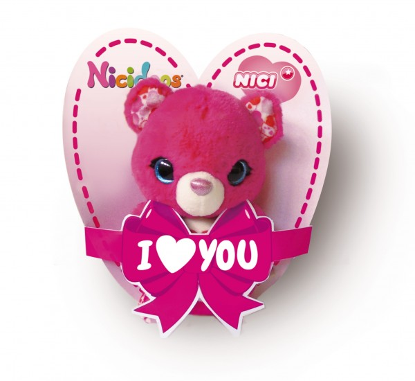 Nici 42770 Nicidoos pinker Bär mit Schlaufe Loop I Love You ca 9cm Plüsch