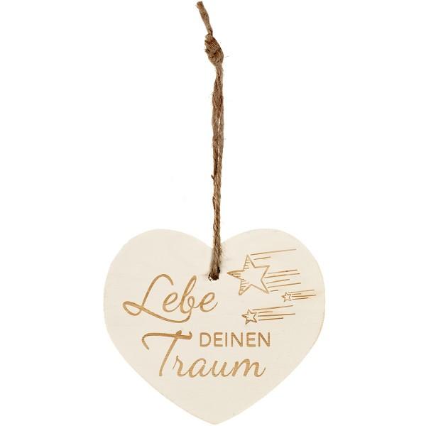 """Kleines Vintage-Herz aus Holz """"Lebe deinen Traum"""" 24008"""