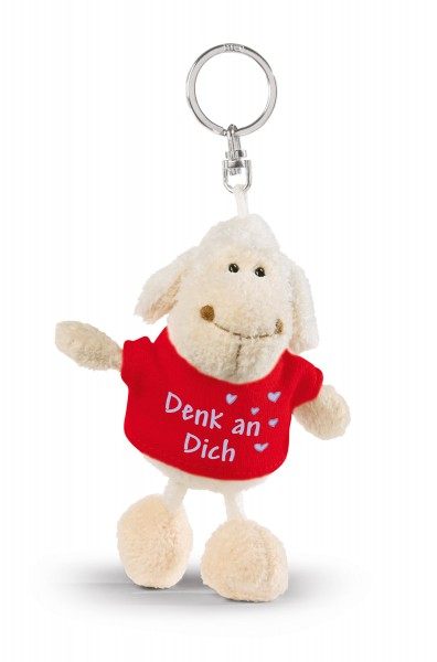"""Nici 32324 Schlüsselanhänger Schaf weiß T-Shirt rot """"Denk an Dich"""" ca 10cm"""