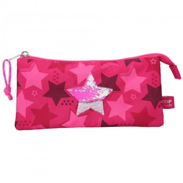 Depesche 10718 TOPModel Fächerschlamper Mäppchen Streichpailletten Stern pink