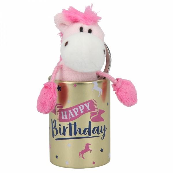 Depesche 8110 Pferd Miss Melody Plüsch-Anhänger im Döschen - Happy Birthday